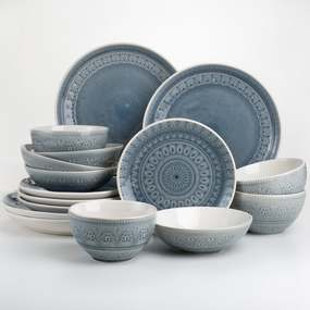 Euro Ceramica Fez 16 Piece Crackle-Glaze Double Bowl Dinnerware Set - Grey