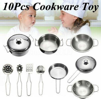 Stainless steel Cookware Kitchen Cooking Set Pots & Pans Toy For Children 10 Pcs