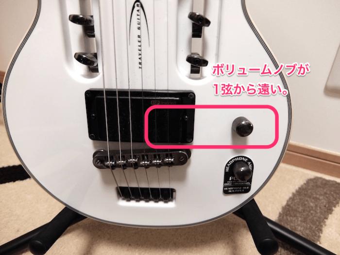 Traveler Guitar のボリューム位置
