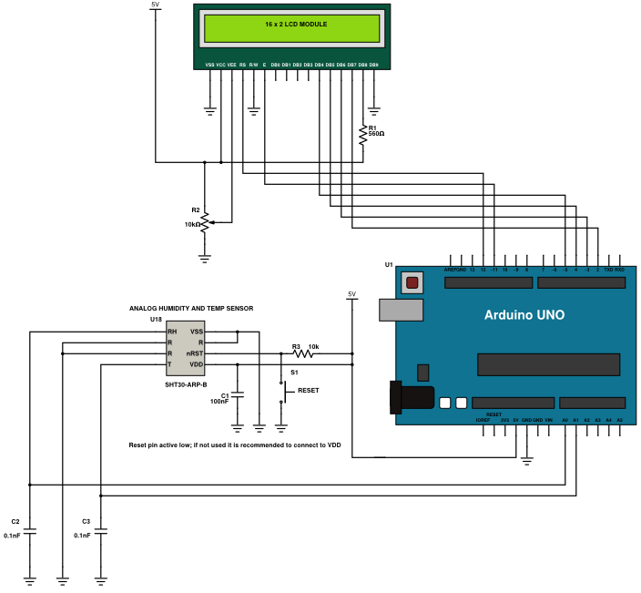Humidity and Temperature Sensor Circuit diagram Using