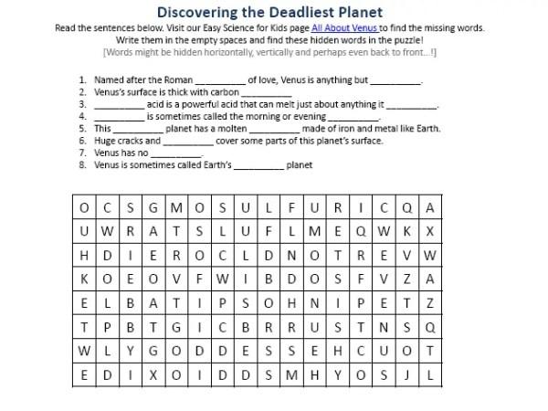 Planet Venus Earth Science Facts Worksheet Image - Easy ...