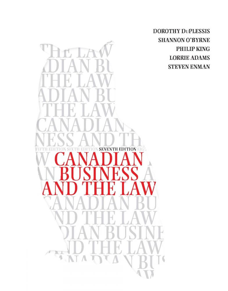 Canadian Business and the Law 7th Edition Solutions Manual