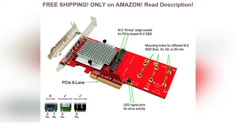 Ableconn PEXM2-130 Dual PCIe NVMe M.2 SSDs Carrier Adapter Card – PCI Express 3.0 x8 Card Support 2