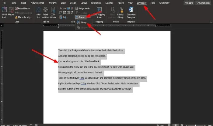How to group Pictures and Text in Word
