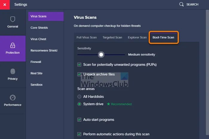 Avast Boot-Scan