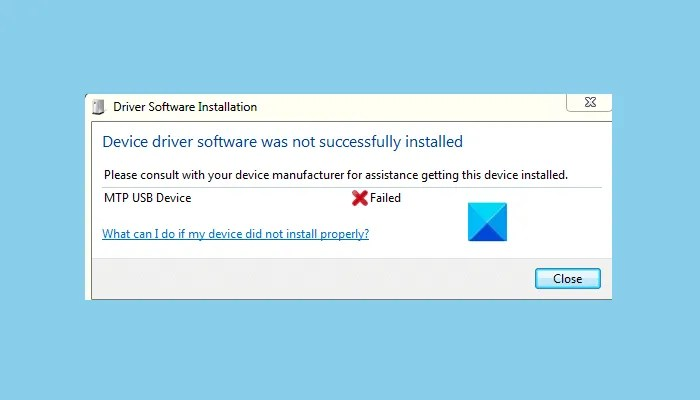 MTP USB device driver failed to install