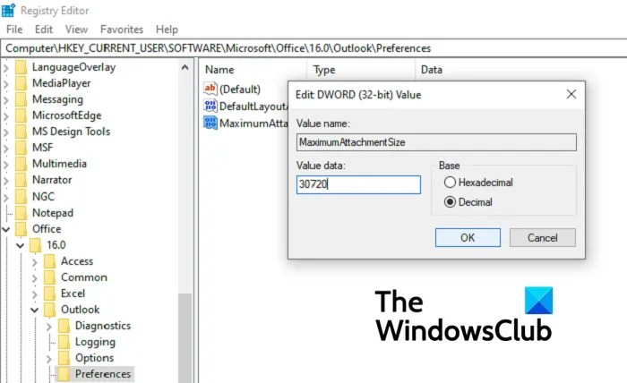How to increase Attachment Size Limit in Outlook