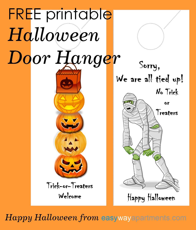 halloween door sign for trick or treaters