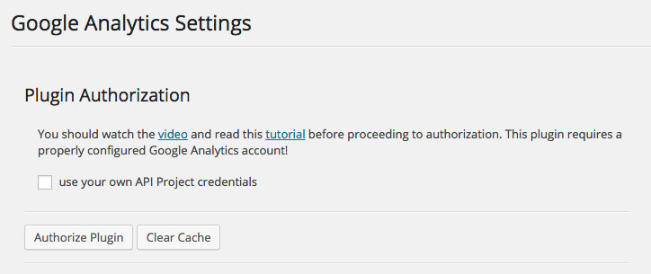 Google Analytics Dashboard WP General Settings