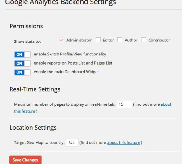 Google Analytics Dashboard WP Dashboard Settings