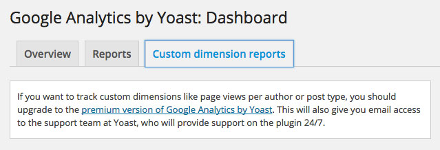 Google Analytics by Yoast Dashboard Custom dimension reports