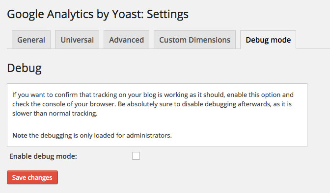 Google Analytics by Yoast Settings Debug Mode