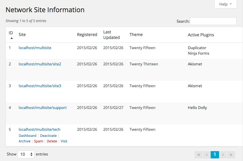 Network Site Information from the plugin Network Manger Tools