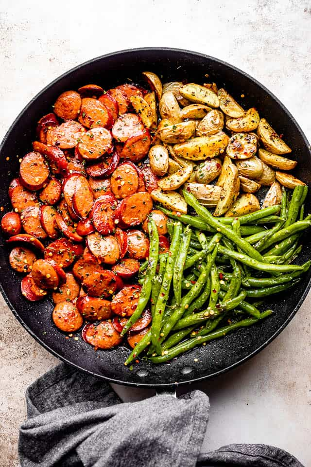 Smoked Sausage with Potatoes and Green Beans