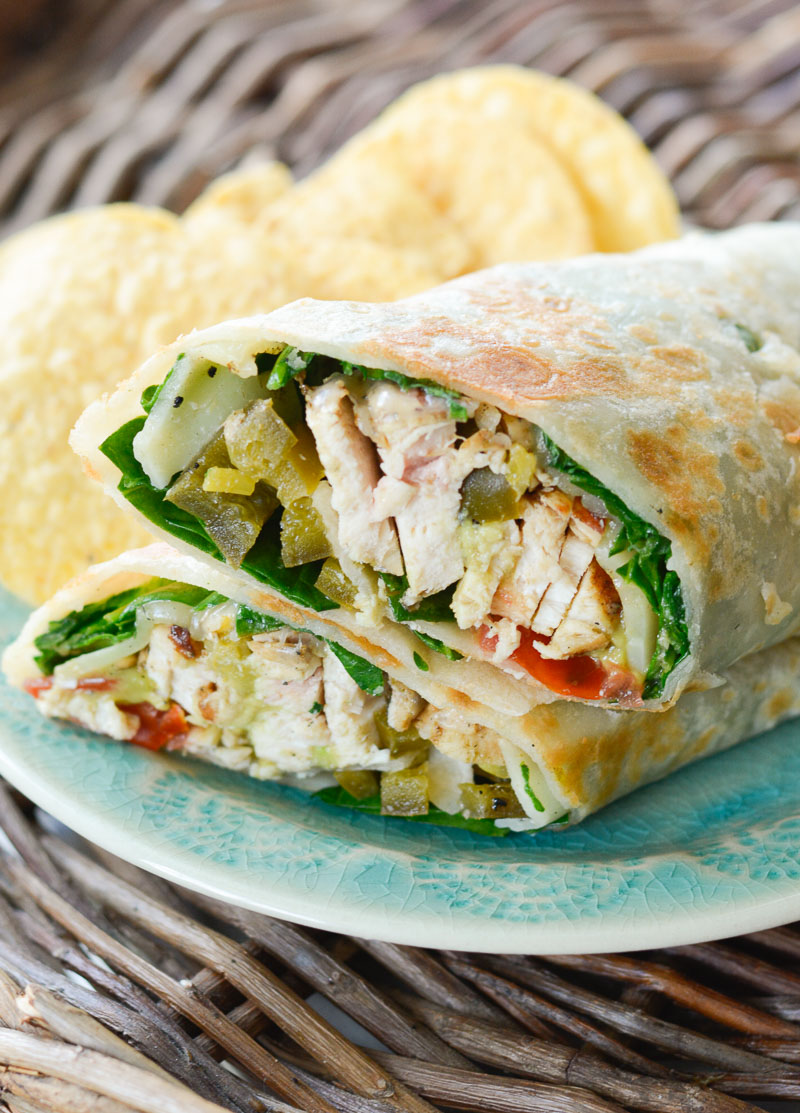 This Jalapeno Lime Chicken Wrap is loaded with fresh vegetables, cheddar cheese, and zesty grilled chicken! This is the perfect quick and easy dinner recipe for busy nights!