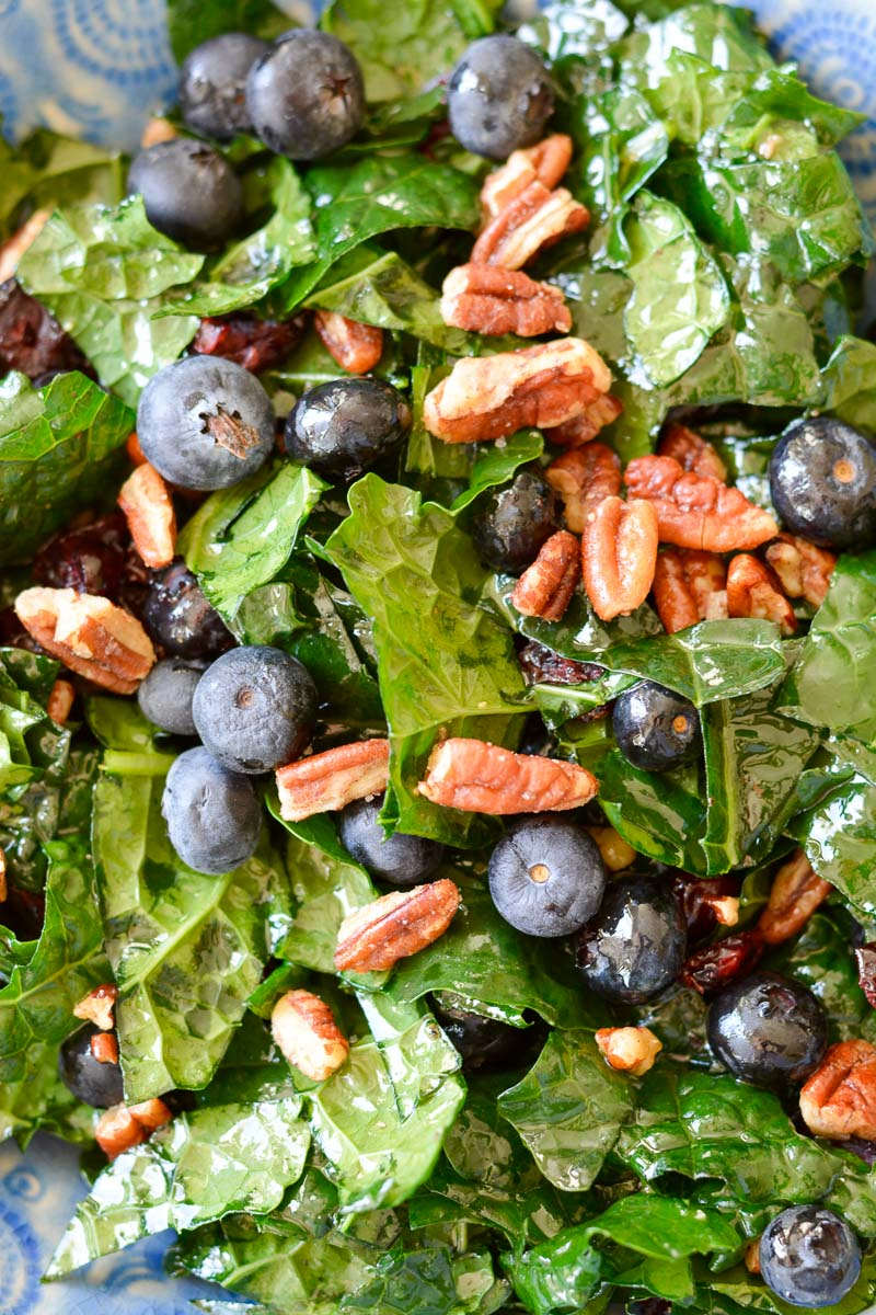 This Kale Harvest Salad features sweet blueberries, dried cranberries, toasted pecans and a tangy Apple Cider Vinaigrette!