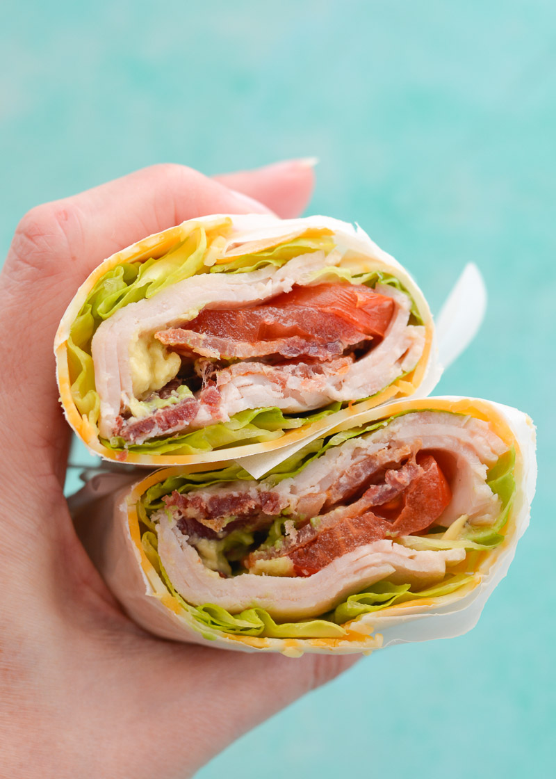 This quick and easy Keto Turkey Bacon Ranch Wrap is loaded with deli turkey, crispy bacon, and fresh vegetables in a cheese wrap! This is an easy lunch under 3 net carbs each!