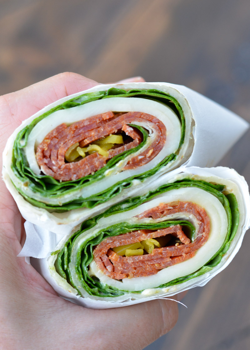 """These simple Pepperoni Wraps make the perfect """"no cook"""" meal when you want all the flavor and none of the work! Gluten-free, low-carb, and keto-friendly if you pick the right wrap!"""