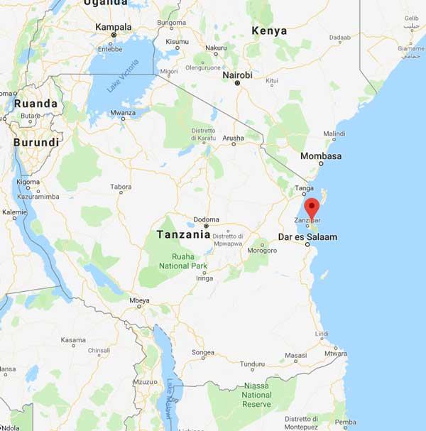 mappa zanzibar geografica