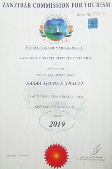 licenza per escursioni a zanzibar