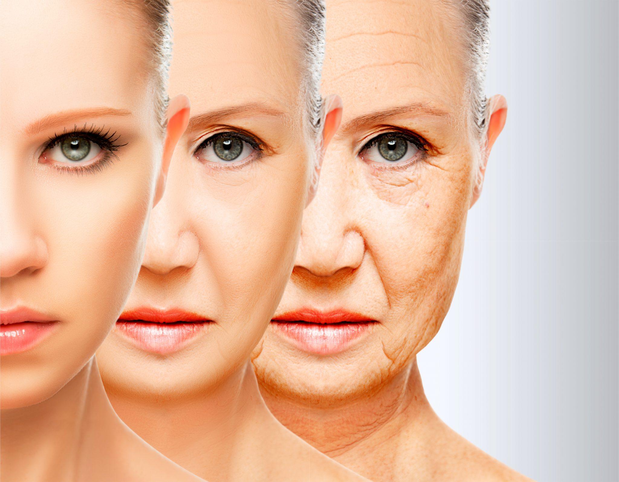 活性酸素の影響で肌に影響がでるシミュレーション画像