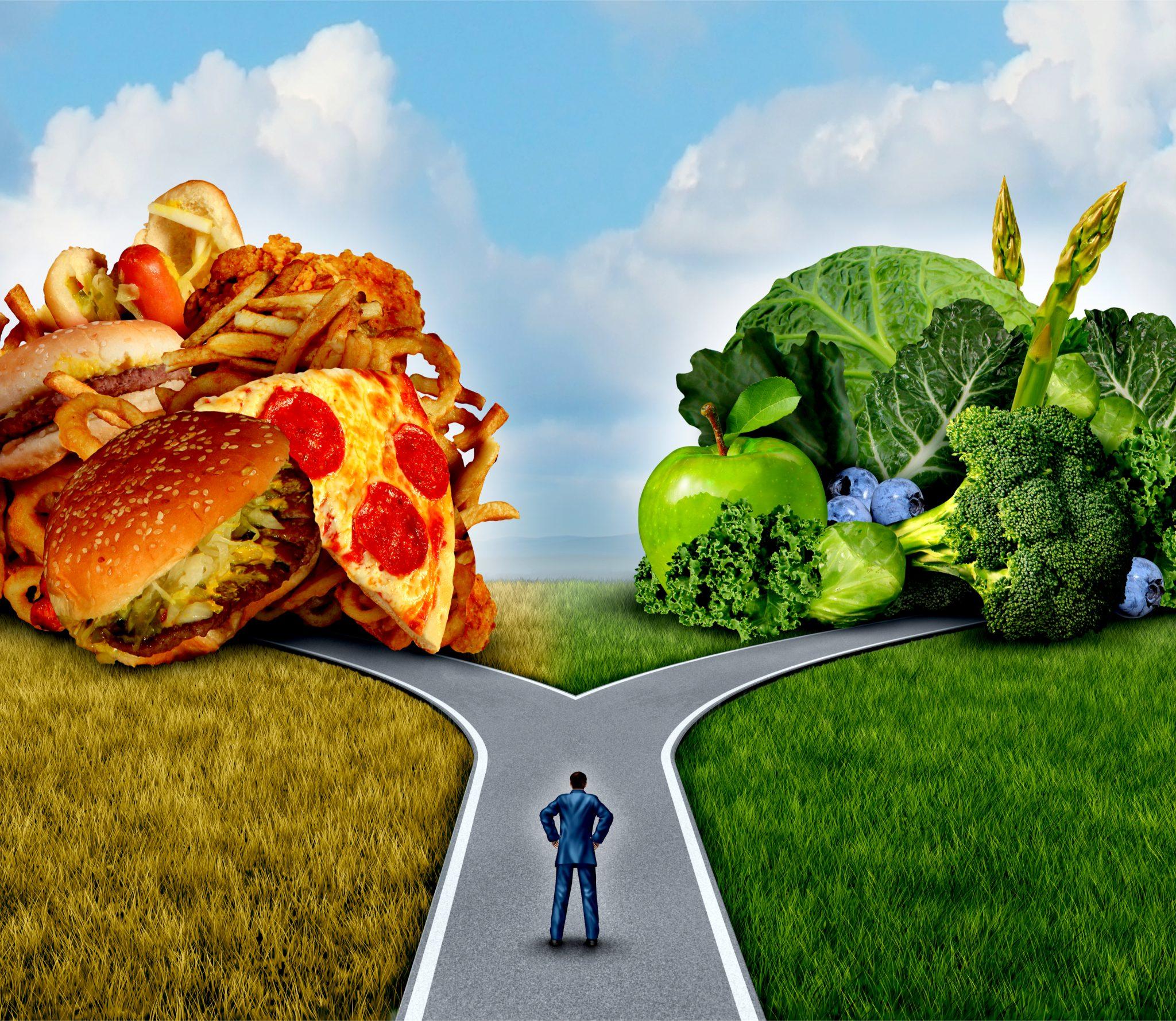 ジャンクフードと野菜を比較している絵