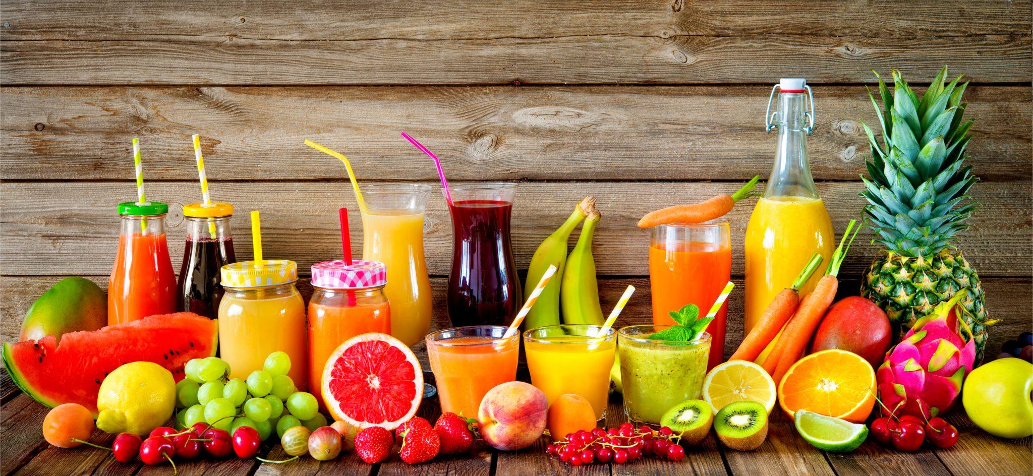 色んな種類の果物や野菜で作ったジュース一覧