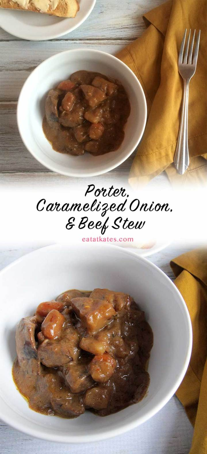 bPorter, Caramelized Onion, & Beef Stew | eatatkates.com | This delicious, savory beef stew takes a few simple ingredients and let's them hang out for a few hours to create a fantastic, comforting dish that will get you through the remaining days of winter.