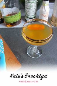 The Brooklynite | eatatkates.com – This is a bright, citrusy cocktail that balances bold rye whiskey with bitter amaro before a hint of citrus sneaks in.