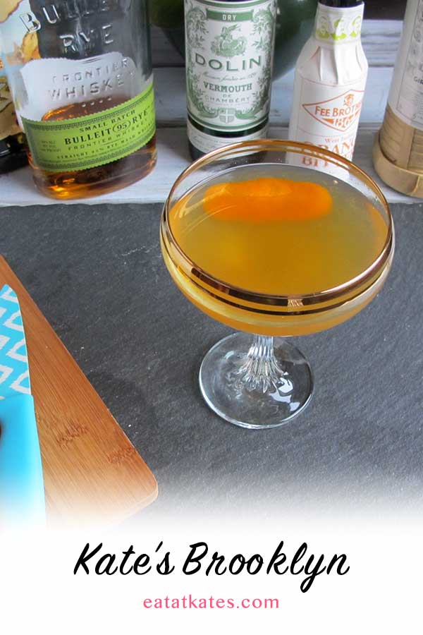 The Brooklynite | eatatkates.com – A bright, citrusy cocktail that balances bold rye whiskey, herbal vermouth, and bitter amaro with light, seasonal citrus.