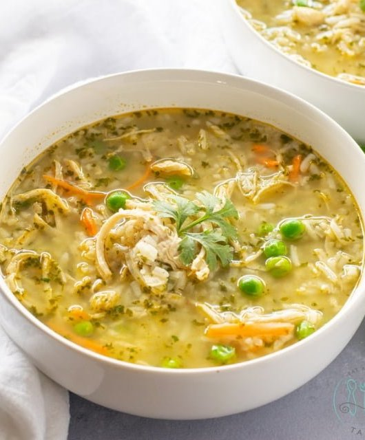 Bowl of Turkey and Rice Soup with Cilantro
