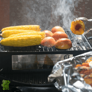 Grilled peaches and corn