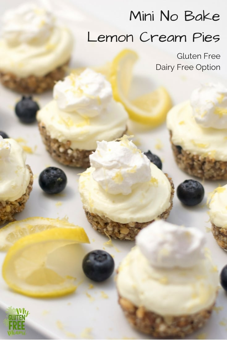 Mini no bake lemon pies, Gluten Free/ Dairy Free Option