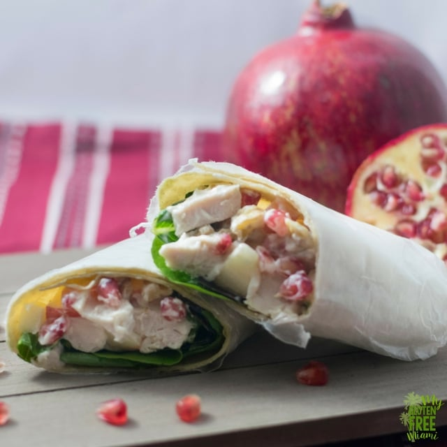 Turkey Salad with pomegranate and apple, perfect for Thanksgiving leftovers!