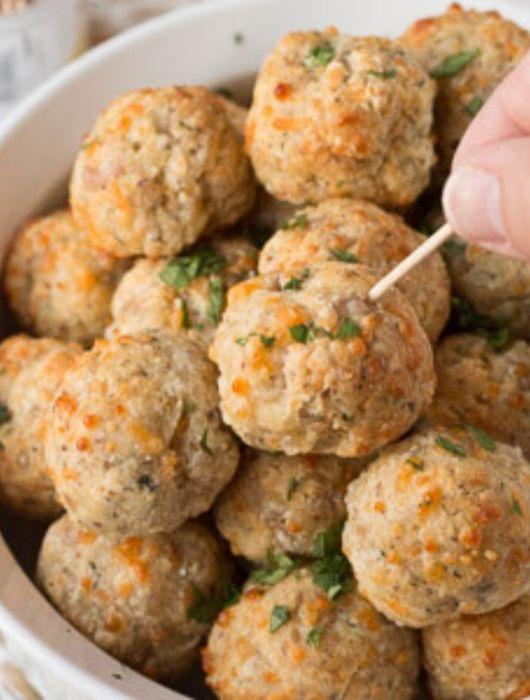 bowl of gluten free sausage balls