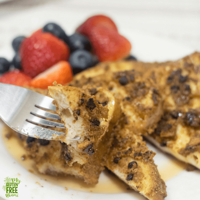 Chocolate Chip Cookie Crusted French Toast {Gluten Free}