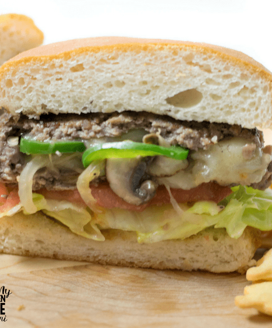 Philly Cheesesteak stuffed burger