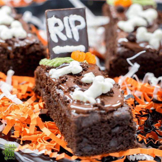 Gluten Free Tombstone Brownies, Spooky Halloween Treat