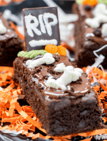 Close up shot of Gluten Free Tombstone Brownie