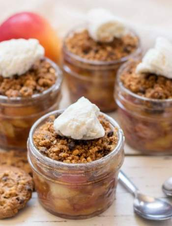 Quick and easy gluten free apple crisp topped with ice cream