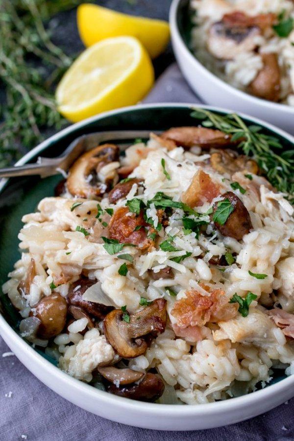 Turkey Pancetta Mushroom Risotto