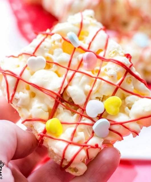 close up shot of marshmallow popcorn bars