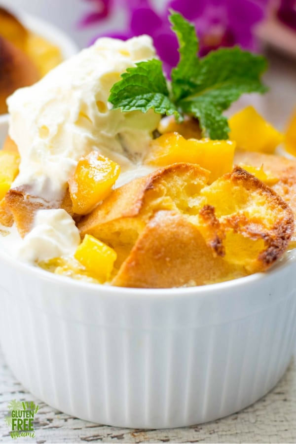 Close up of gluten free mango bread pudding with ice cream on top