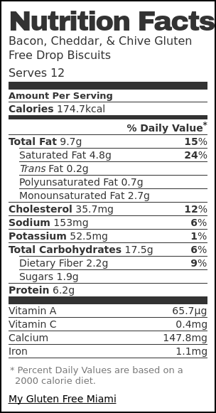 Nutrition label for Bacon, Cheddar, & Chive Gluten Free Drop Biscuits