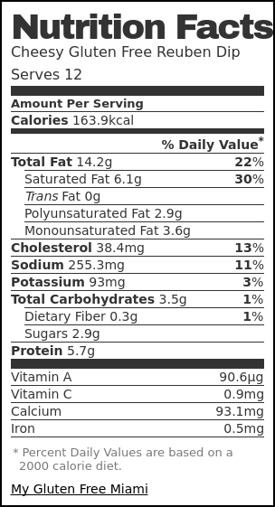 Nutrition label for Cheesy Gluten Free Reuben Dip