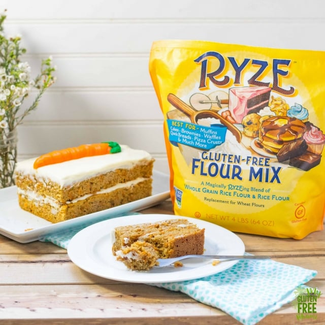 Gluten free carrot cake with bag of ryze flour