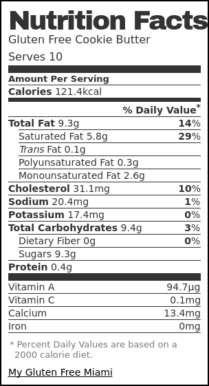 Nutrition label for Gluten Free Cookie Butter