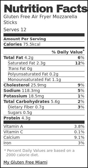 Nutrition label for Gluten Free Air Fryer Mozzarella Sticks