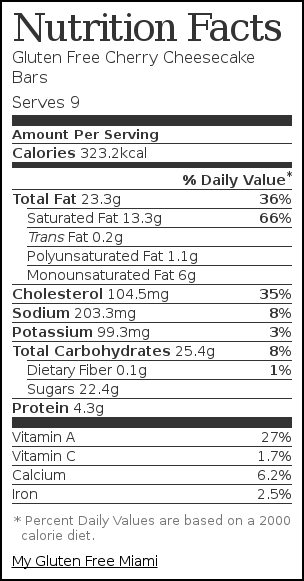 Nutrition label for Gluten Free Cherry Cheesecake Bars