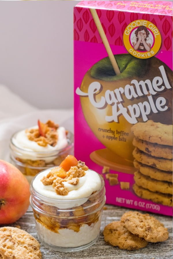 Goodie Girl Caramel Apple Cookies with no bake maple cheesecake apple parfait